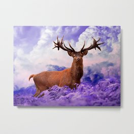 Stag in the Clouds Metal Print