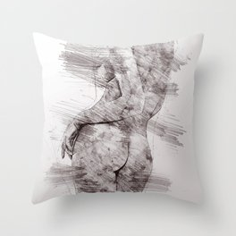 Nude woman pencil drawing Throw Pillow