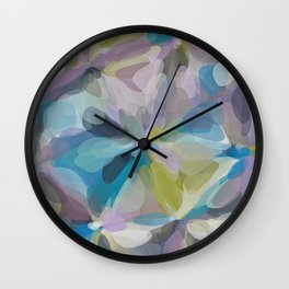 circle pattern abstract background in blue purple yellow Wall Clock