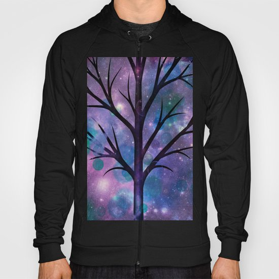 Tree in a fairy-like blue lilac sparkle spring night Hoody