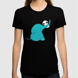 Kawaii Cute Panda and Elephant T-shirt