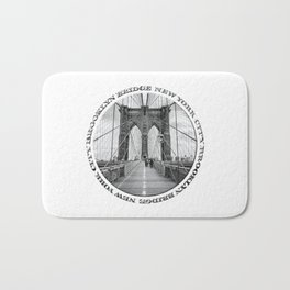 Brooklyn Bridge New York City (black & white with text) Bath Mat