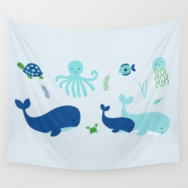 Blue Nautical Under The Sea Animals Wall Tapestry