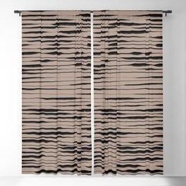 Hand Painted Lines / Dark Beige Blackout Curtain
