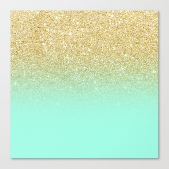 Modern Gold Ombre Mint Green Block Canvas Print By Girly