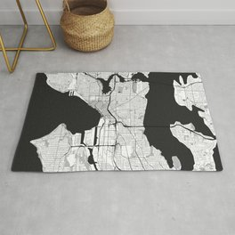 Seattle Map Gray Rug