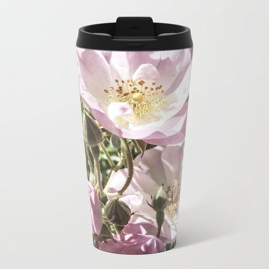 Cool And Luminous Summer Roses Metal Travel Mug