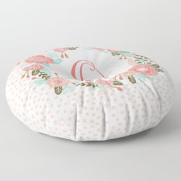 Monogram O - cute girls coral florals flower wreath, coral florals, baby girl, baby blanket Floor Pillow