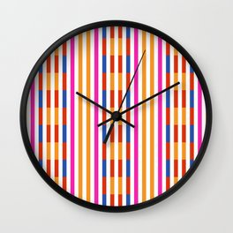Yellow And White Lines Pattern Wall Clock