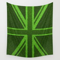 british flag Wall Tapestries featuring Grass Britain / 3D render of British flag grown from grass by GrandeDuc