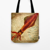 squid Tote Bags featuring Squid by NeverlandDream