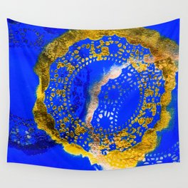 Royal Blue and Gold Abstract Lace Design Wall Tapestry