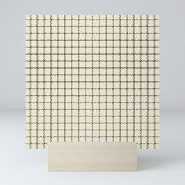 Fern Green & Sludge Grey Tattersall on Cream Background Mini Art Print