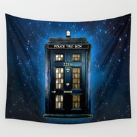 221b Wall Tapestries featuring Tardis doctor who Mashup with sherlock holmes 221b door by Three Second