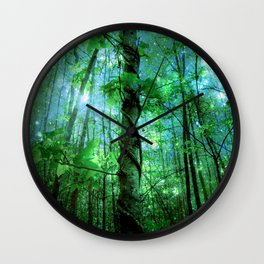 Forest Of The Fairies Green Blue Wall Clock