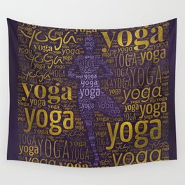 Yoga Pattern around Asana in Gold and Purple Wall Tapestry