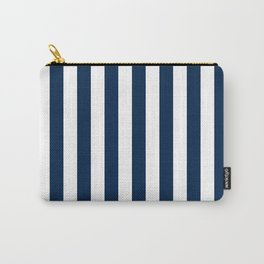 Narrow Vertical Stripes - White and Oxford Blue Carry-All Pouch