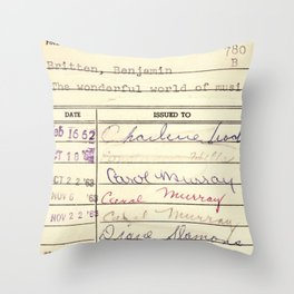 Library Card 780 The Wonderful World of Music Throw Pillow