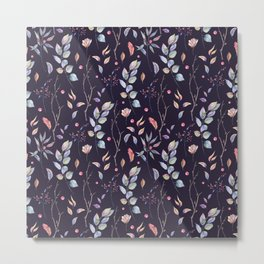 Watercolor natural pattern with twigs Metal Print