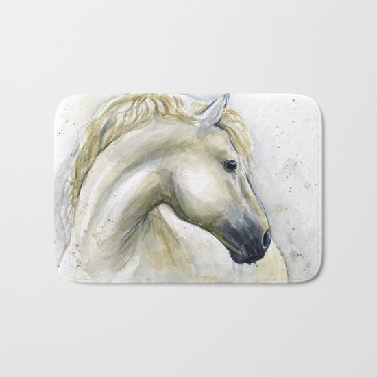 White Horse Watercolor Painting Animal Horses Bath Mat