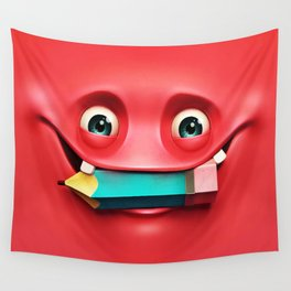 The Red Eat a Pencil Wall Tapestry