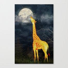 What the moon tastes like? (Giraffe and Moon) Canvas Print