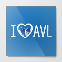 I Love Asheville - Mountain Biking - AVL 4 Blue Metal Print