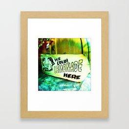 Ice Cold Lemonade Here Framed Art Print