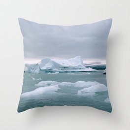 ICELAND WITH ICEBERGS IS INCREDIBLE ICY Throw Pillow