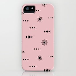 Little sunny day and midnight moon phase boho universe pattern girls pink iPhone Case