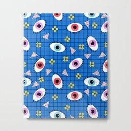 Hungry - eyes retro grid throwback 1980s minimal modern pattern print wacko designs neon Metal Print