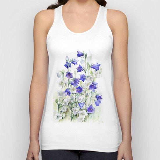 Bluebells watercolor flowers, aquarelle bellflowers Unisex Tank Top
