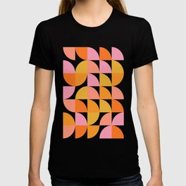 Mid Century Mod Geometry in Pink and Orange T-shirt