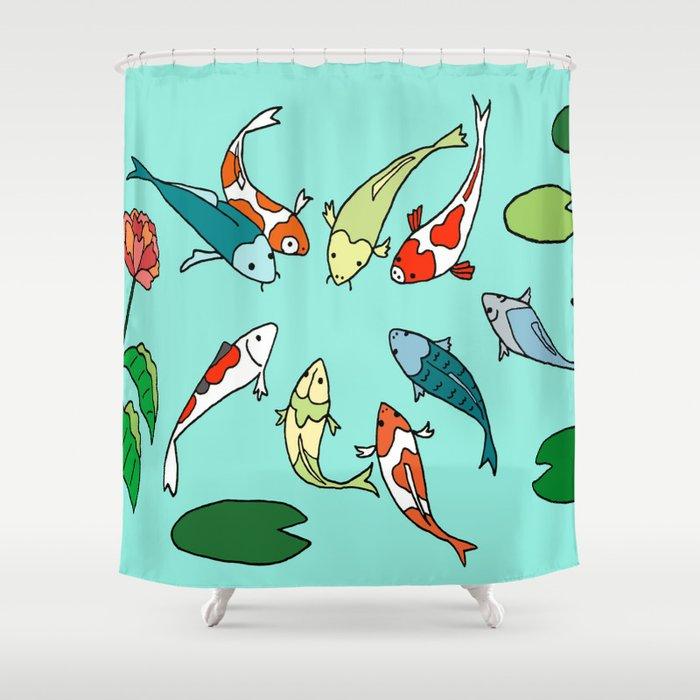 Koi Fish Meeting Shower Curtain