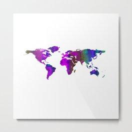 World Map QQ Metal Print