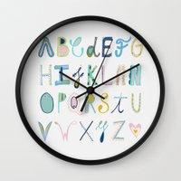 alphabet Wall Clocks featuring Alphabet by Anto Del Vecchio
