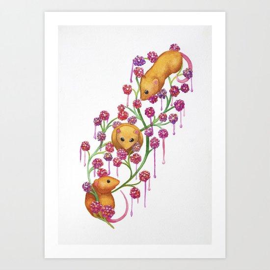 Watercolour Mice in the Bush Art Print