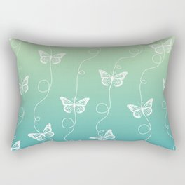 Light Blue and Green Butterflies Pattern Rectangular Pillow
