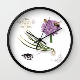 Chives and Pollinators Wall Clock