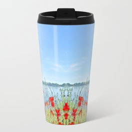 Red poppies in the lakeshore Travel Mug