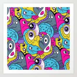Idiot Bird Pattern Art Print