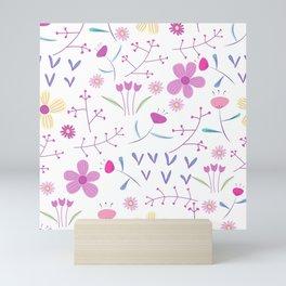 Ditsy Hipster Spring Floral Pink Flower Design Mini Art Print