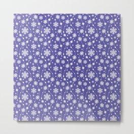Purple Holiday Snowflake Pattern Metal Print