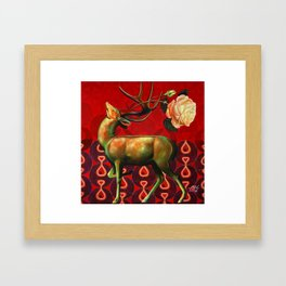 Deer and Rose Framed Art Print