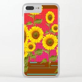 BROWN SUNFLOWER FIELD SAFFRON GRAPHIC ART Clear iPhone Case