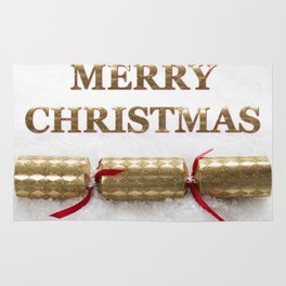 Merry Christmas Cracker in Snow Message Rug