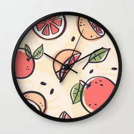 Red Grapefruit for Breakfast Wall Clock
