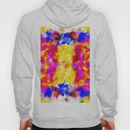 psychedelic geometric triangle pattern abstract background in pink yellow red blue Hoody