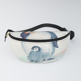 Emperor chick and mother penguin Fanny Pack