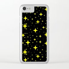 Bright Yellow Stars in Space , Cristmas Stars Clear iPhone Case